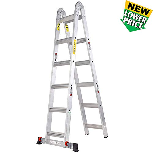 TOPRUNG 12 FT Extension Multi-Purpose Step Ladder
