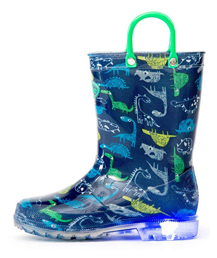 Outee Kids Adorable Printed Light Up Rain Boots