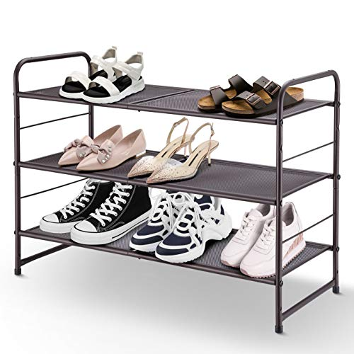 Simple Trending 3-Tier Stackable, Expandable, and Adjustable Shoe Shelf Storage Organizer