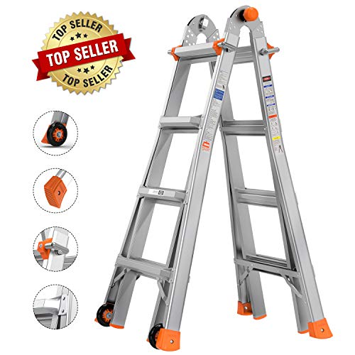 TACKLIFE 17 FT Multi-Use Telescoping Ladder