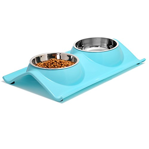 8. Double Dog Bowls, Stainless Steel Pet Bowls by Upsky