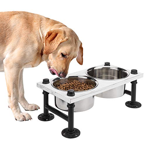 2. Metal Elevated Double Pet Feeder Stand by MyGift